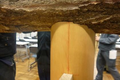 皮付き丸太と化粧柱が隙なく接合している