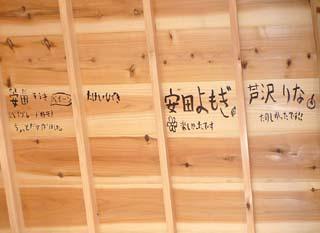 こども上棟式の落書きはこの通り、下から見えてしまうのです