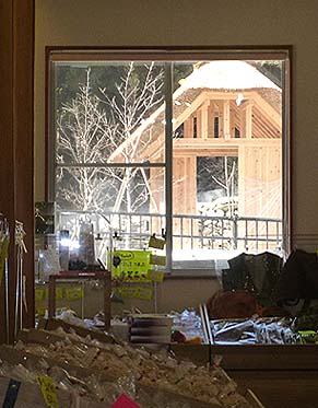 直販所の「おごっそう屋」の窓越しに見る茅葺屋根の東屋「わかひこ亭」