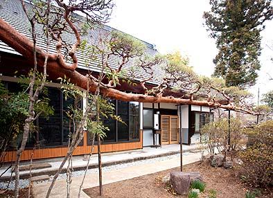 南面玄関周り外観には木質系のデザインを施す