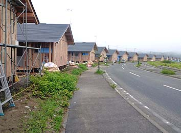 仮設住宅でありながら美しい家並みを形成する景観