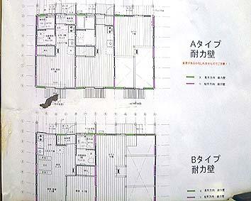 3戸で一棟のAタイプ、2戸で一棟のBタイプの平面計画、それぞれロフトが備わっている