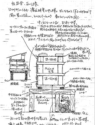 渡辺明彦さんが描いた「いい加減石窯(2段タイプ)」の作り方の図面