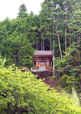 平林の集落を見下ろす聖域、小高い山中の新宮を遠望