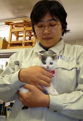 社長と一緒にベル子をもらってきた田辺ますみです、伝匠舎で設計を担当しています。ベル子がパソコンのキーボードを触ってしまうのには困っています。