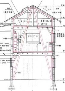 断面図を見ると1階、2階、小屋裏へと大方杖(だいほうずえ)が貫かれて家を支えているのがよく解る。