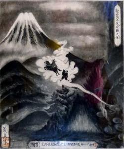 聖徳太子が富士山に登った伝説を描いた絵(8合目太子館蔵)