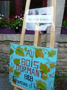 色づいた葡萄の葉が描かれたB&Bの案内看板。