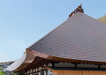 竣工本堂 茅型銅板葺き屋根の詳細