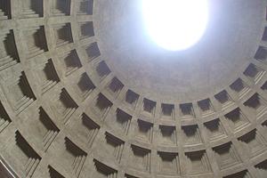 パンテオン神殿 内観  ローマンコンクリートで造られたドーム天井