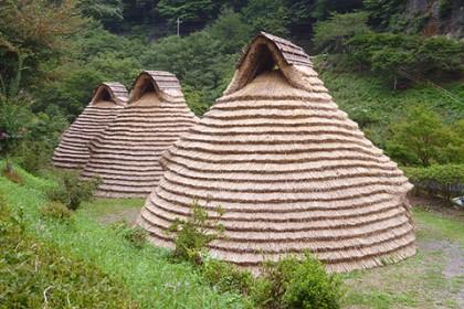 葺き替えが完成した茅葺き屋根(背面) 三棟が並び建つ姿は圧巻