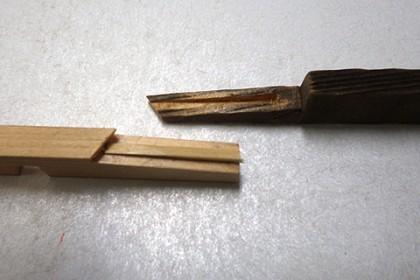 旧部材の欠損形状に合わせて新材を加工