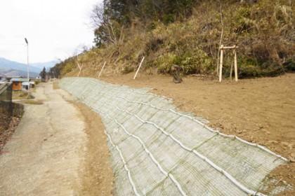植樹作業が完了。花かげの道も広がって軽トラックが通れるようになった