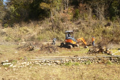 今回の作業場所 植樹前の造成作業の様子