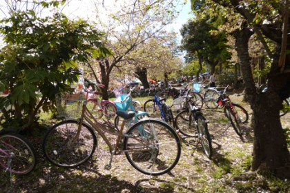 弊社の門前はお祭りに来た子供たちの自転車であふれ…